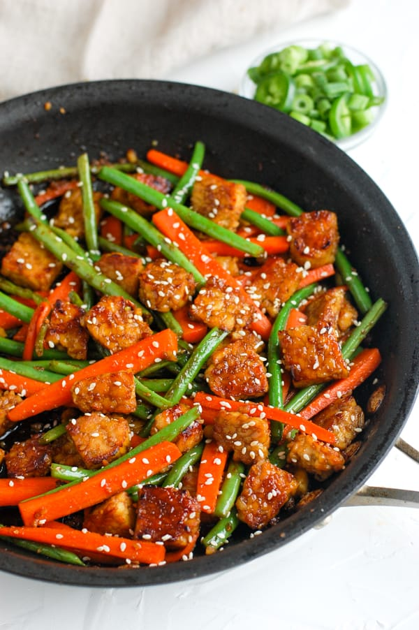 sesame ginger tempeh in a dish