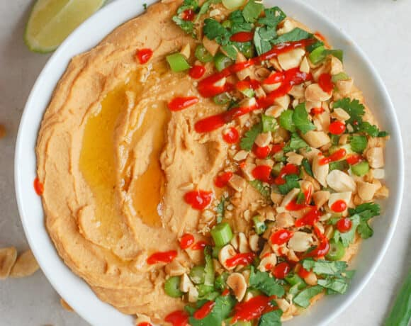overhead shot of thai peanut hummus