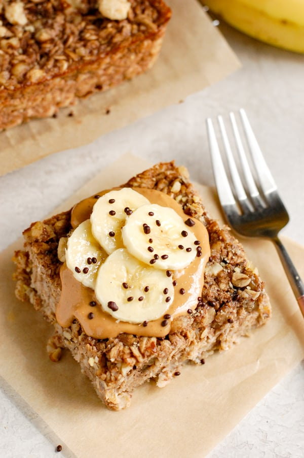 banana bread oatmeal with cashew butter