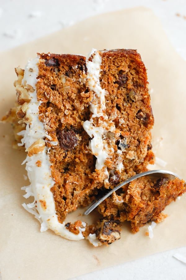 carrot cake slice with fork