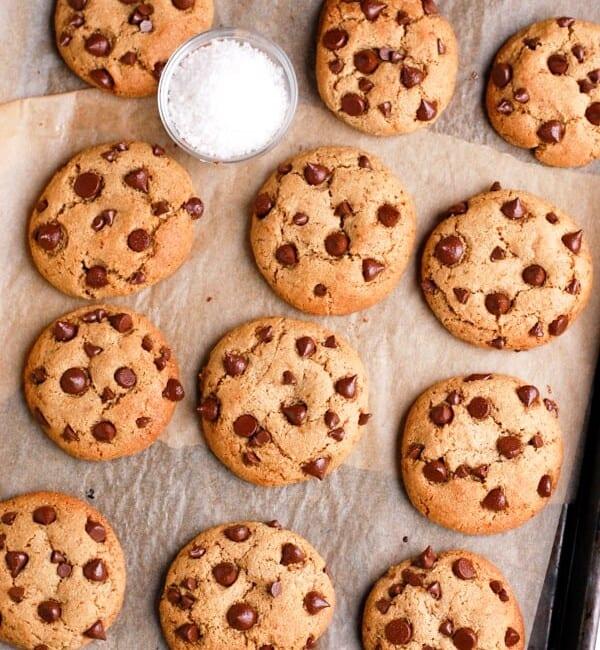 paleo tahini chocolate chip cookies on tray