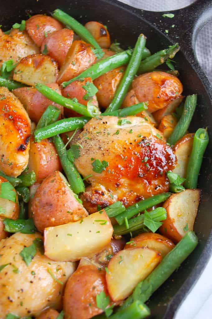 honey mustard chicken in skillet