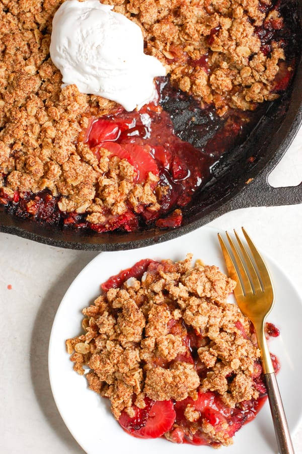 crumble in skillet and on plate