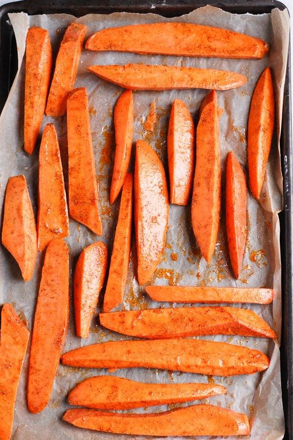 sweet potato fries on tray