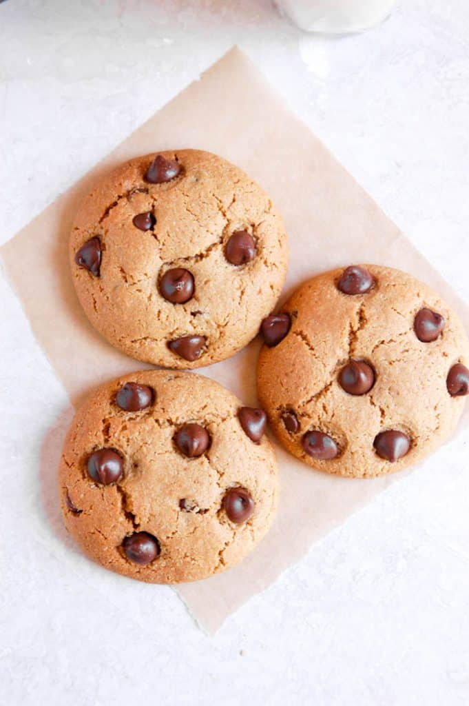 three paleo chocolate chip cookies
