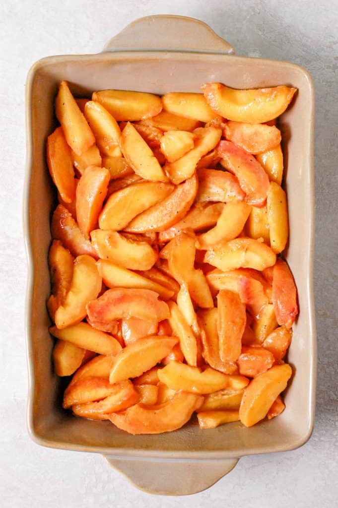 peaches in a dish