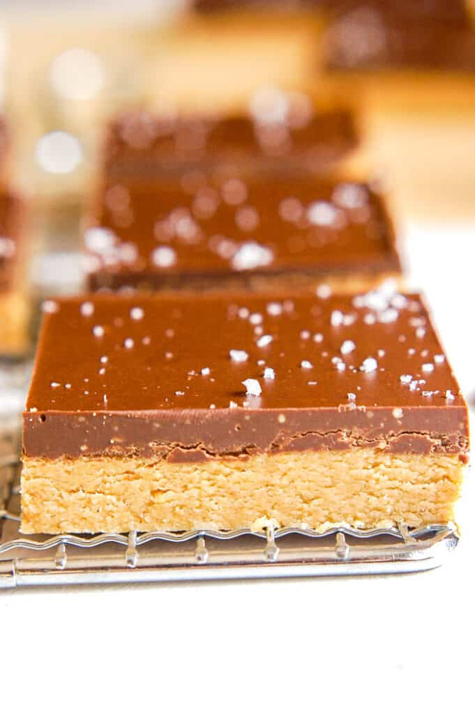side shot of single no bake chocolate peanut butter bar
