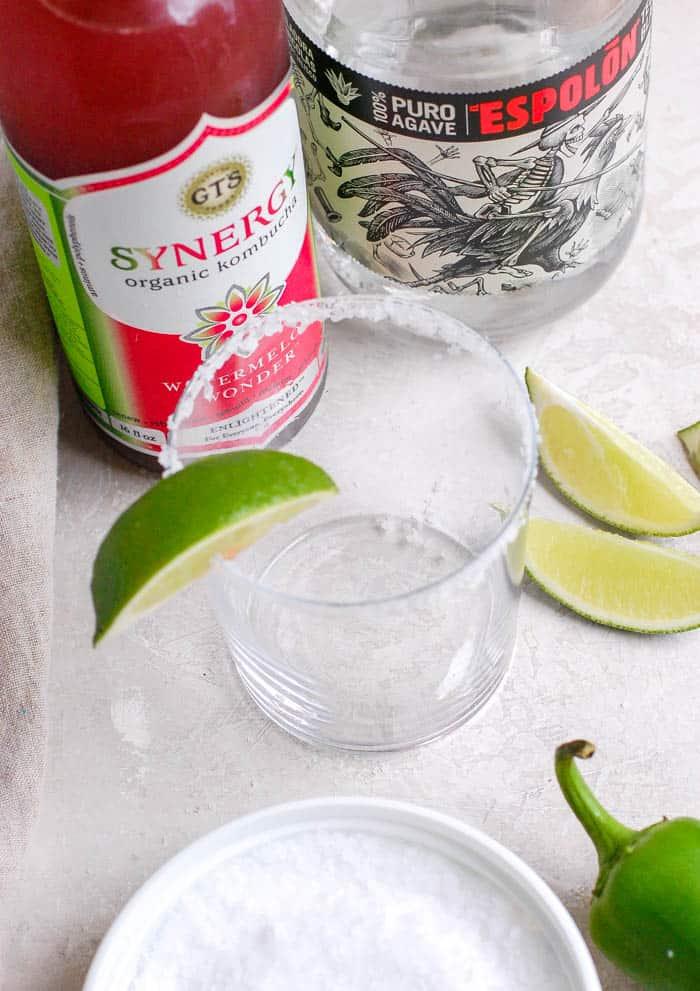 kombucha and a glass with a salt rim