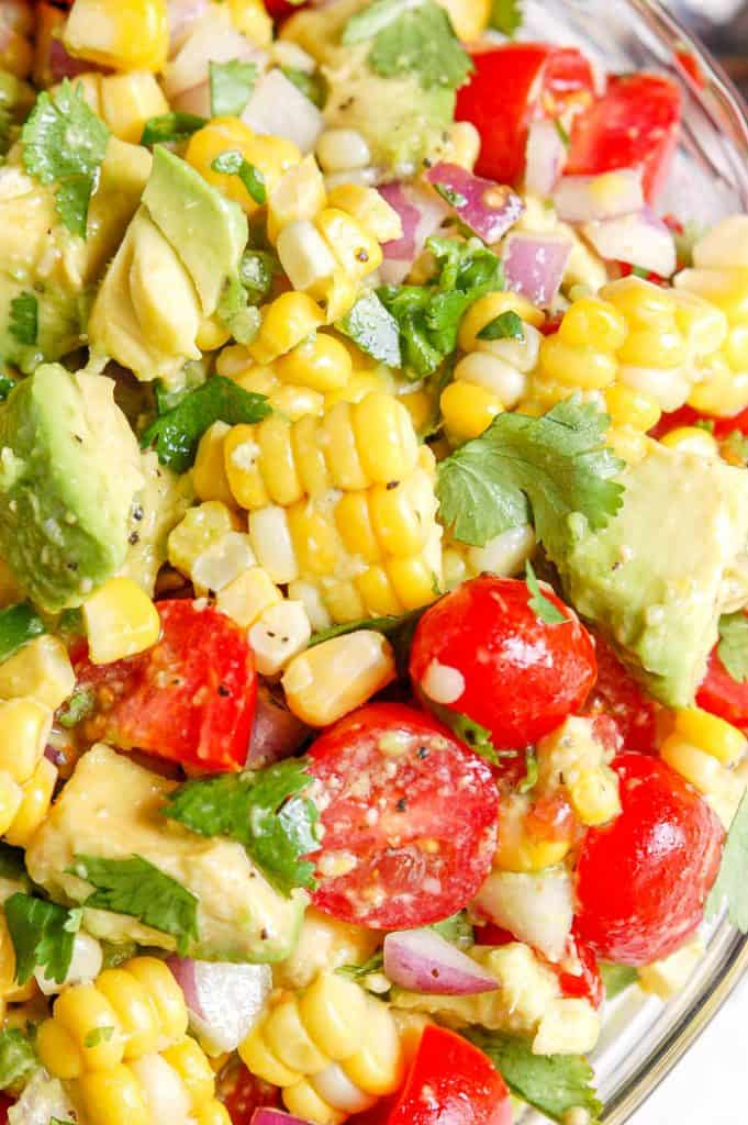 avocado corn salad in a bowl