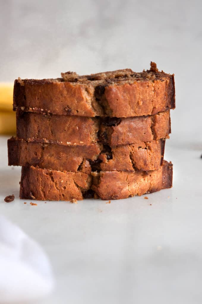 stack of banana bread