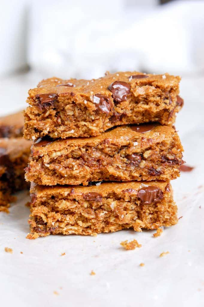 stack of oatmeal chocolate chip bars