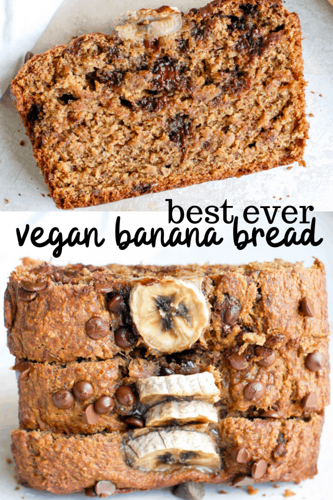 two pictures of vegan banana bread