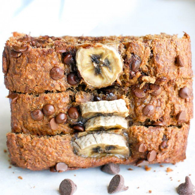 stack of slices of vegan banana bread