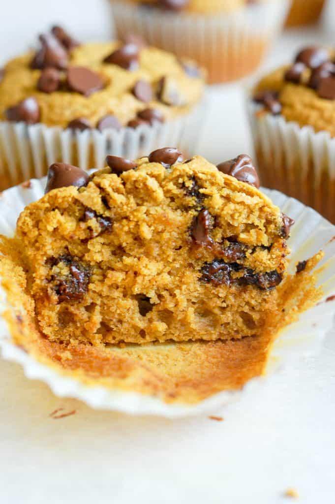 half of pumpkin muffin