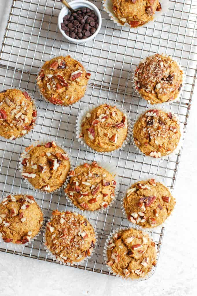sweet potato muffins on rack