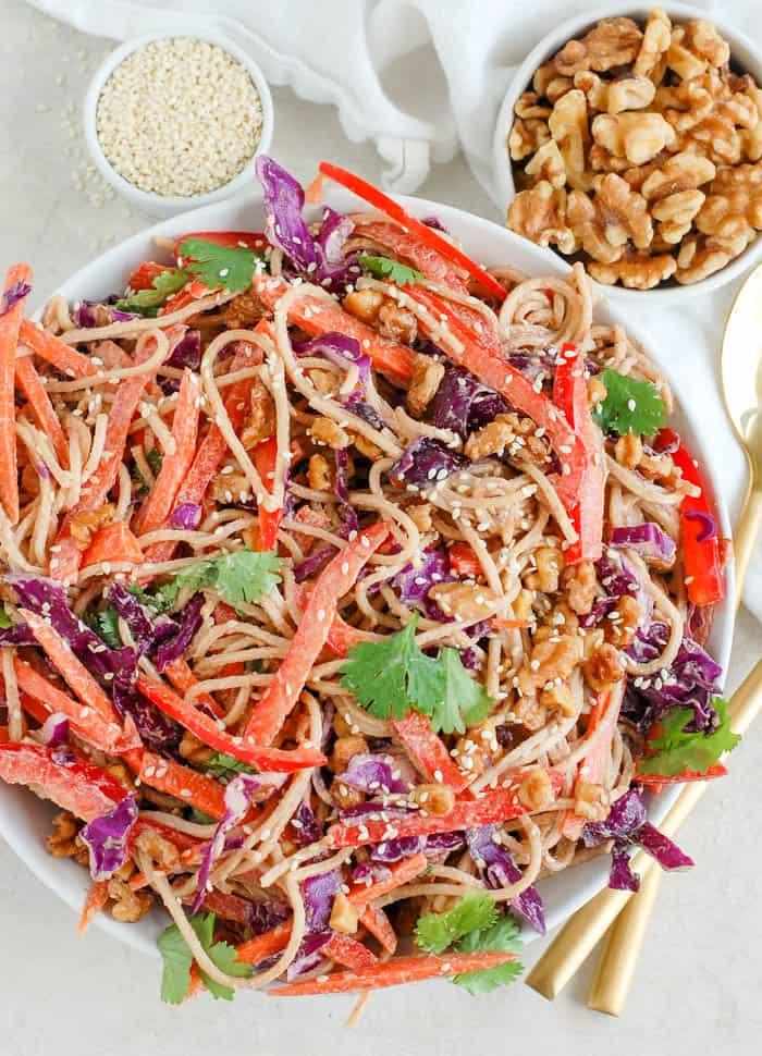 thai noodle salad in a bowl