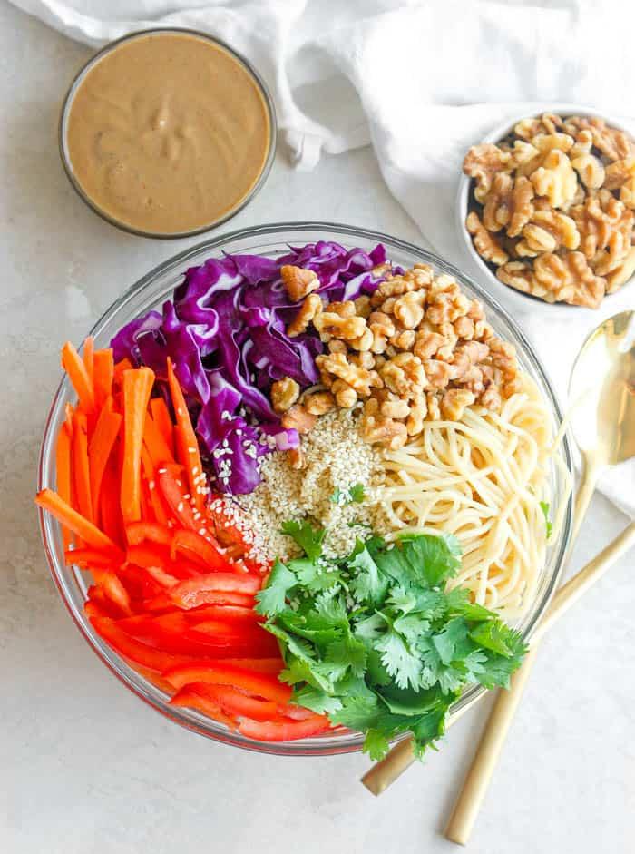ingredients for noodle salad