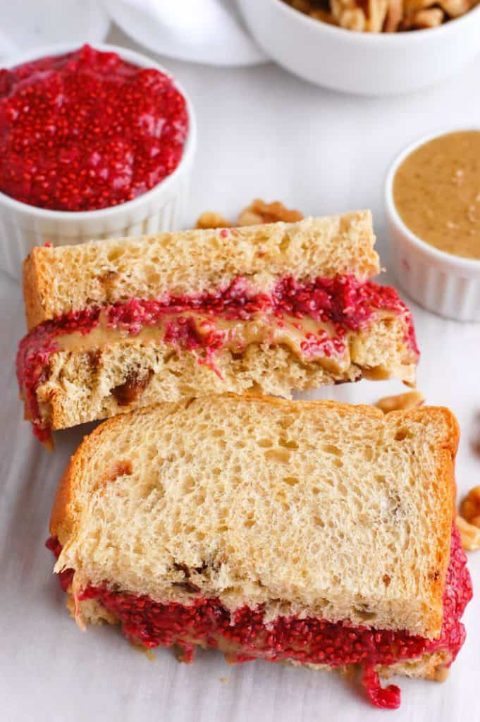 walnut butter and jelly sandwich