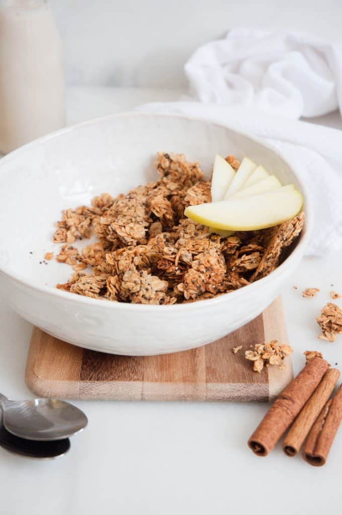 bowl of granola with apples