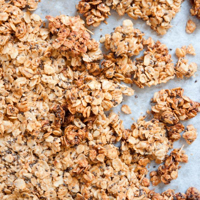 almond butter granola on tray