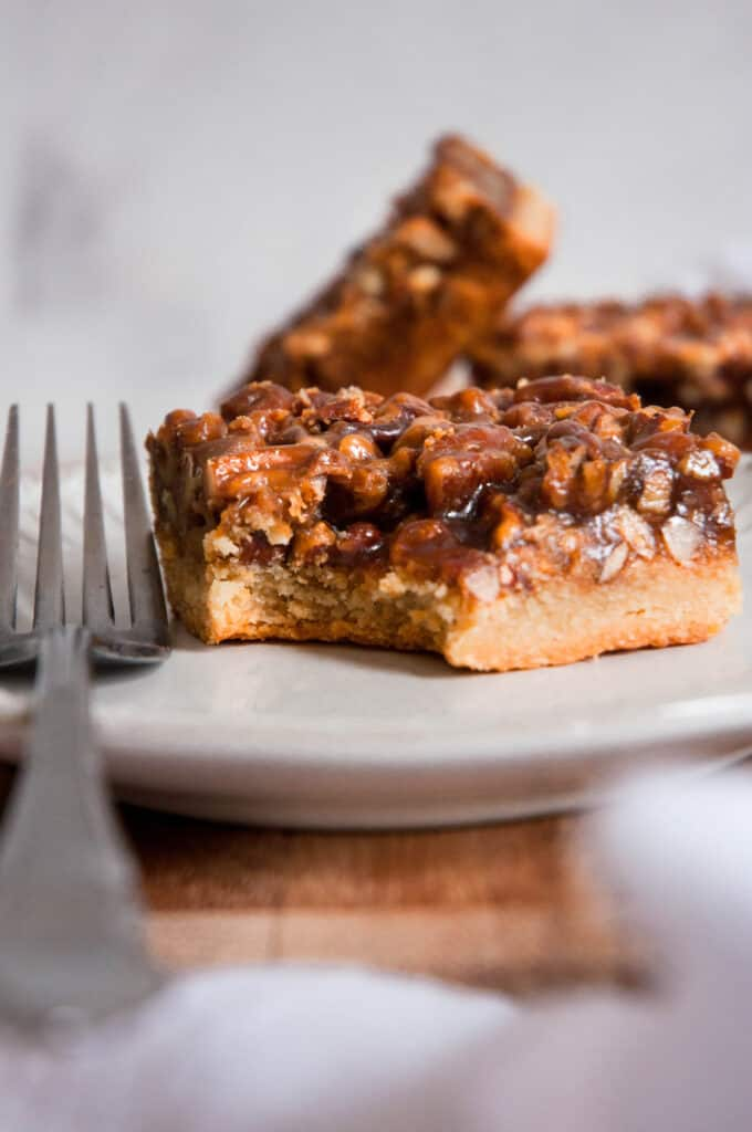 bite into pecan pie bar