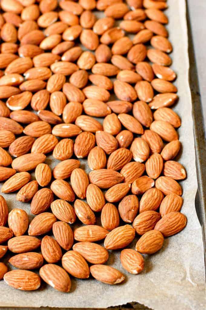 almonds on baking sheet