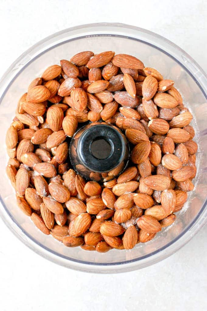 almonds and salt in food processor