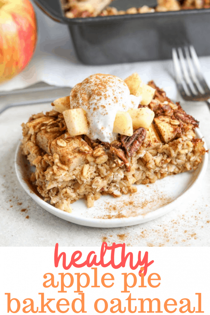 apple pie baked oatmeal on plate