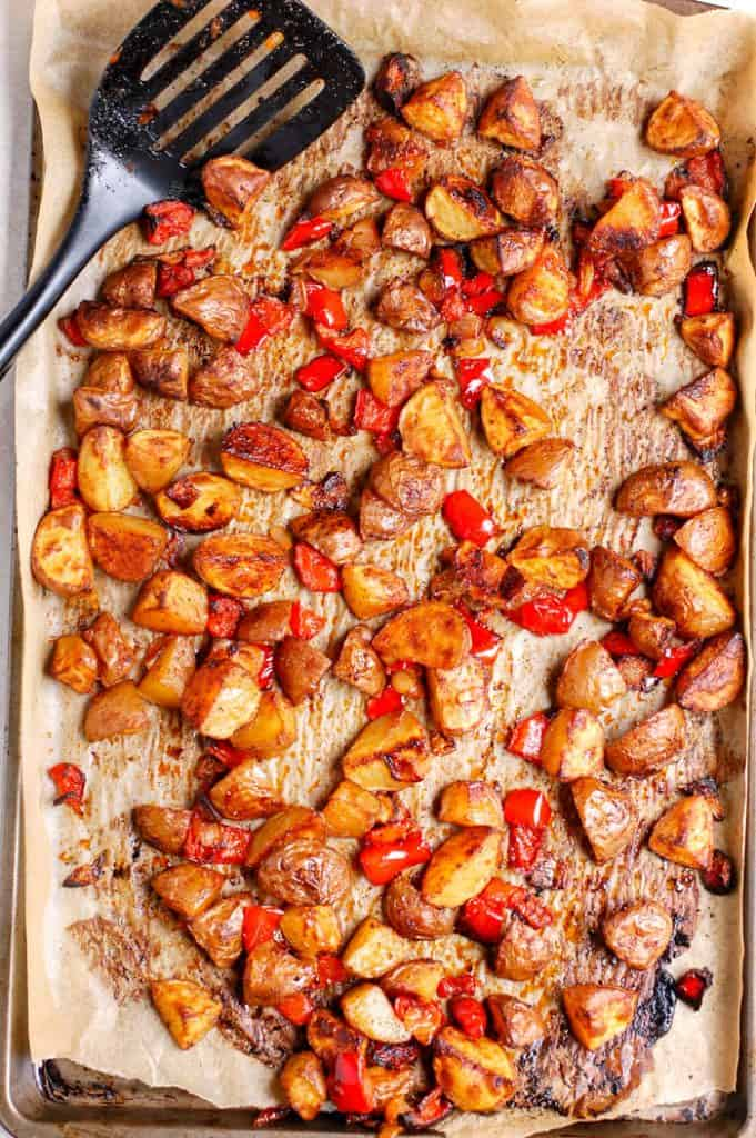 roasted breakfast potatoes on pan