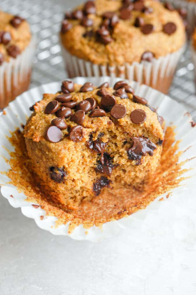 bite out of pumpkin muffin