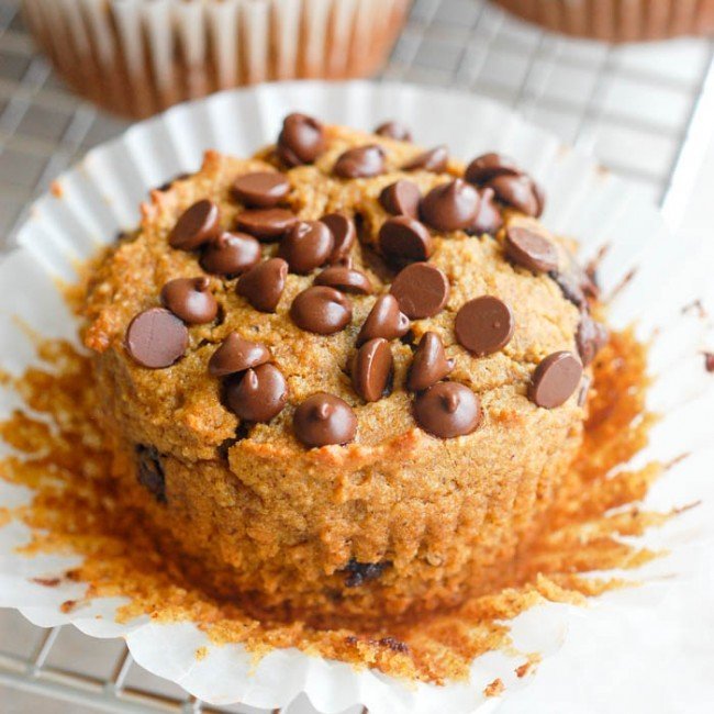 paleo pumpkin muffin with liner