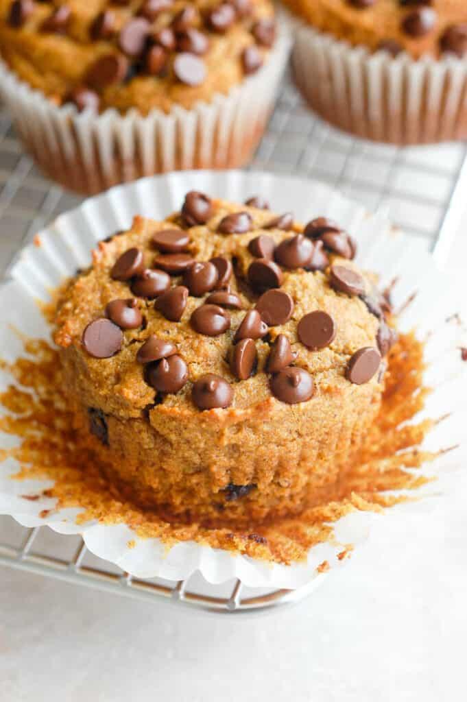 paleo pumpkin muffin with liner