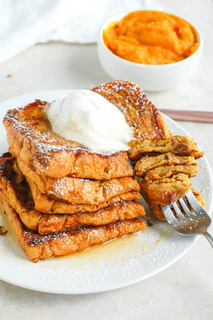 pumpkin french toast with fork