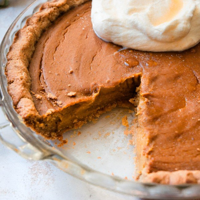 healthy pumpkin pie in dish