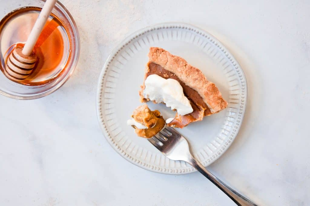 bite out of healthy pumpkin pie