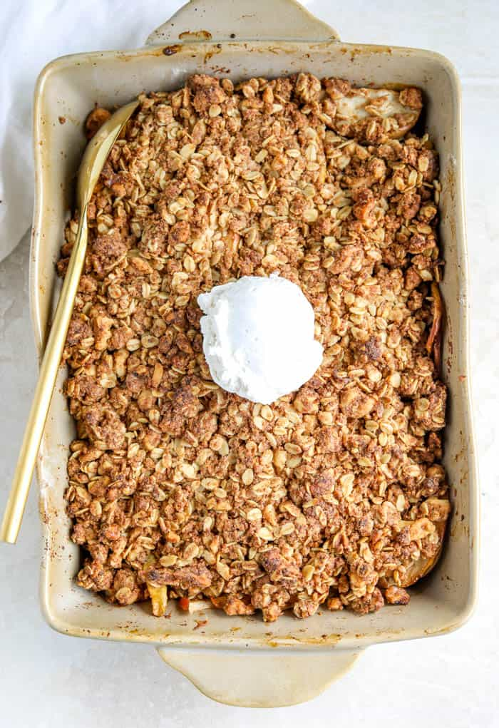 apple crisp in pan
