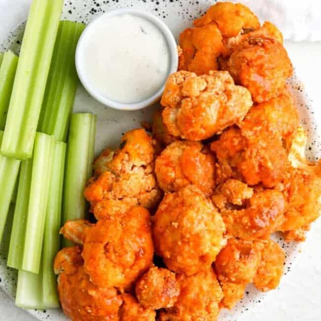 cauliflower wings on plate