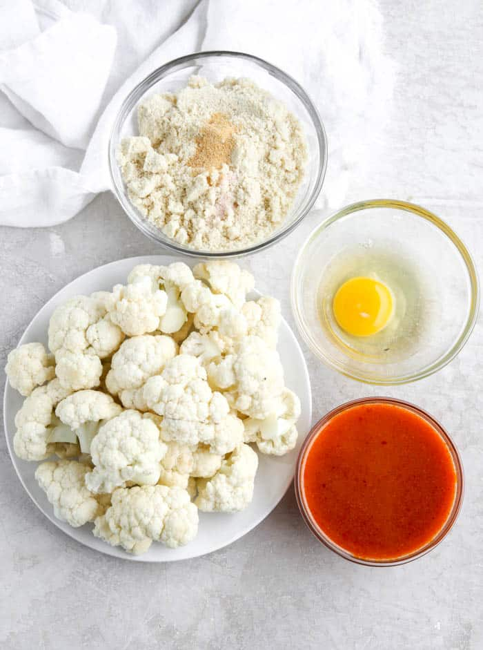 cauliflower, egg, sauce, flour