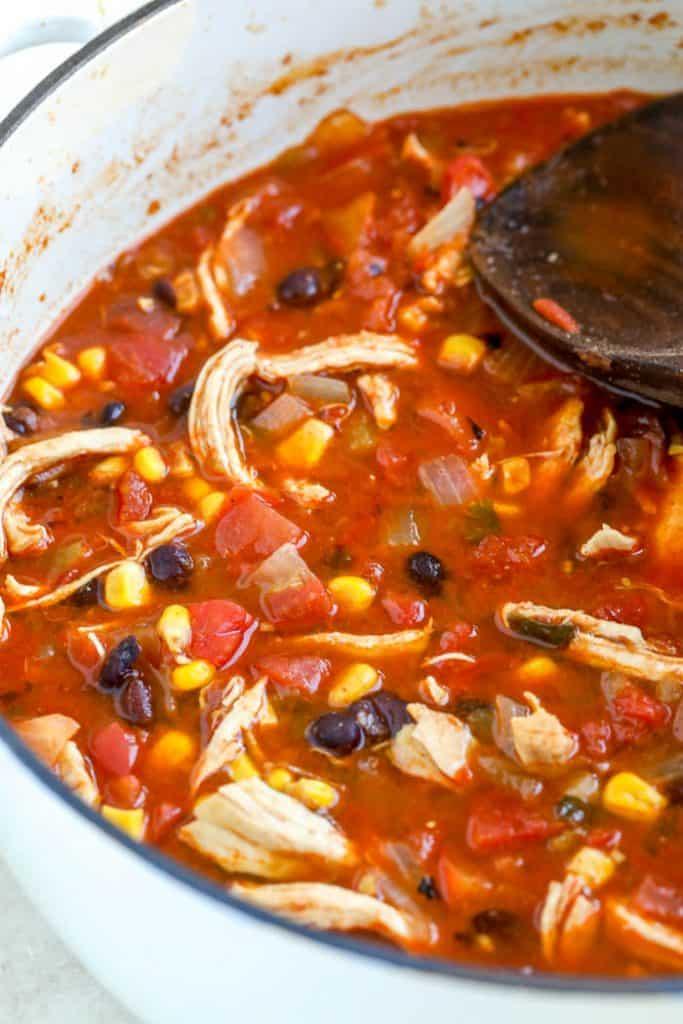 chicken tortilla soup in pot