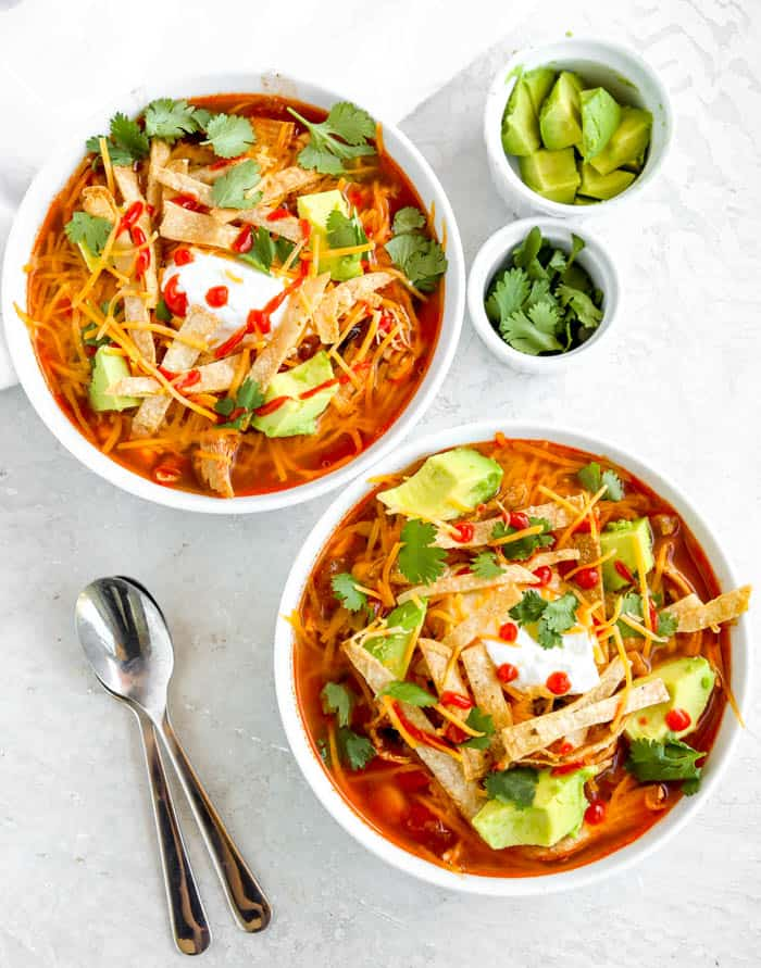two bowls of chicken tortilla soup