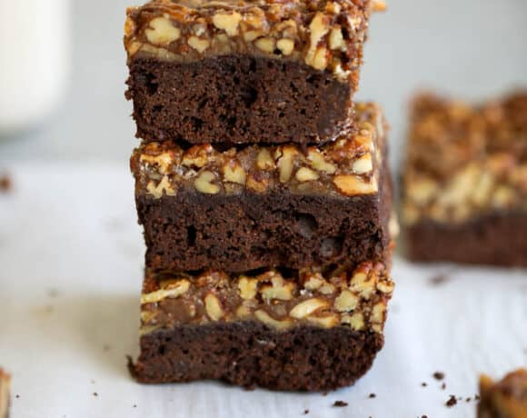 stack of pecan pie brownies