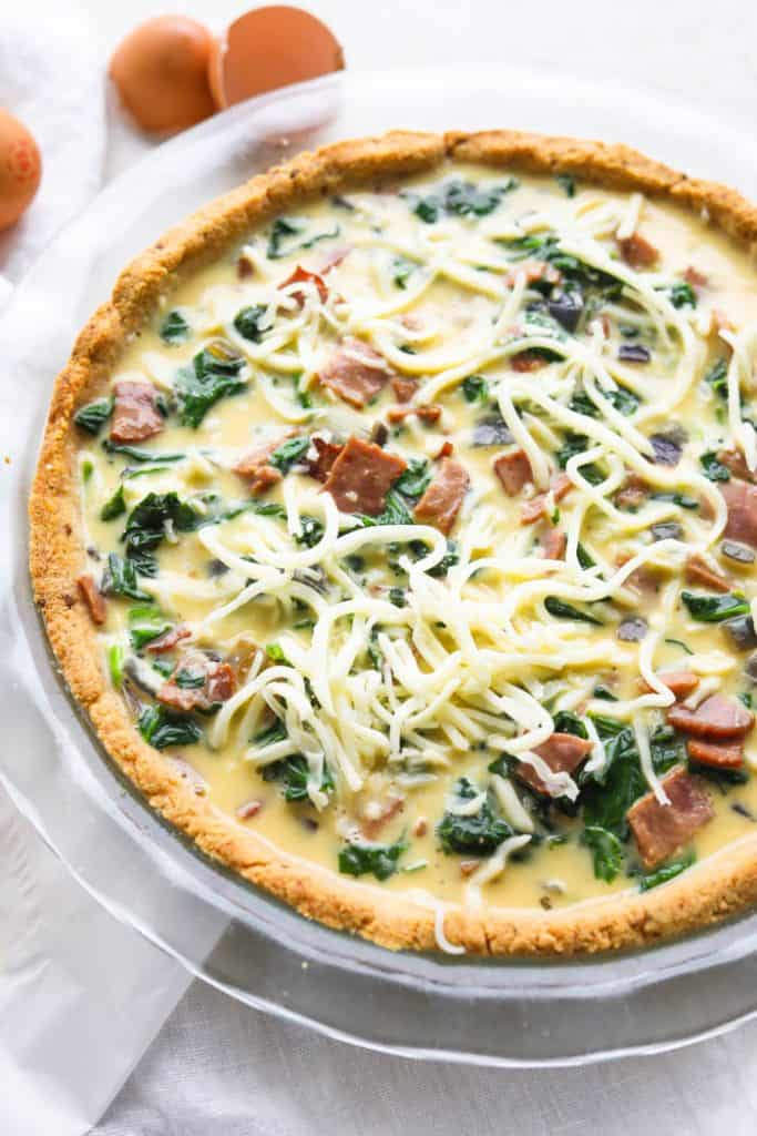 spinach bacon quiche before cooking