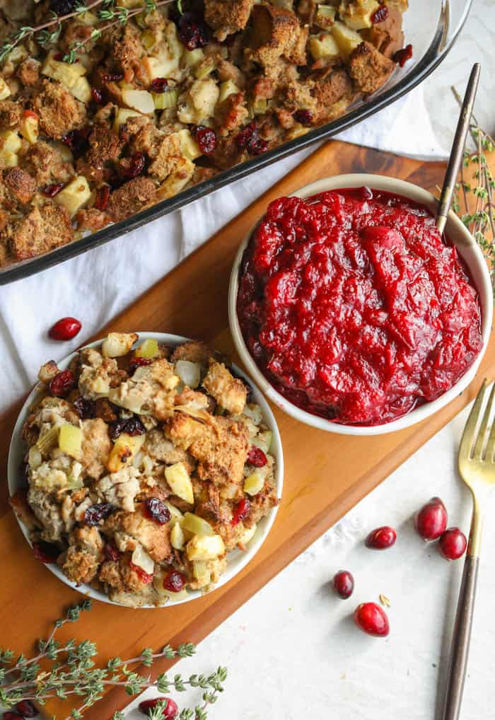 stuffing and cranberry sauce