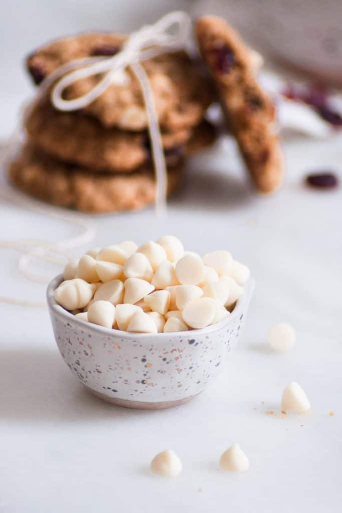 white chocolate chips in bowl