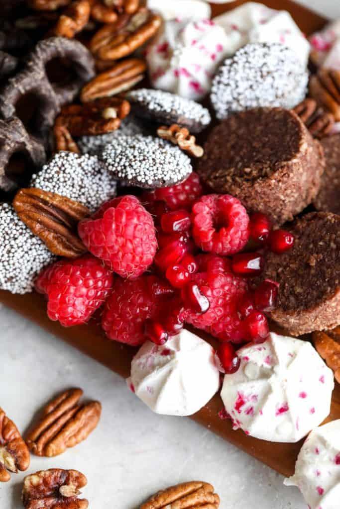 raspberries and pomegranates