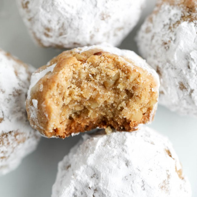 bite out of snowball cookie
