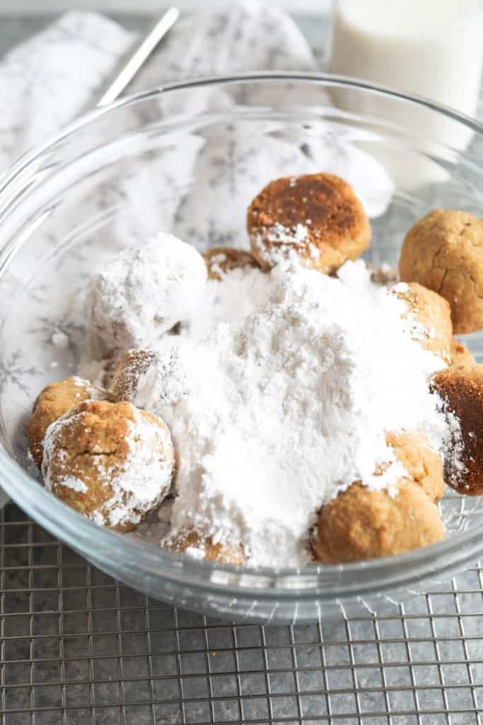 snowball cookies in bowl
