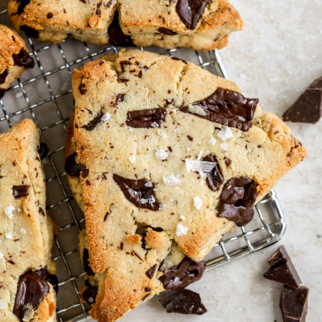chocolate chip scones on rack