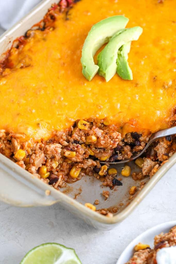 quinoa casserole in a dish