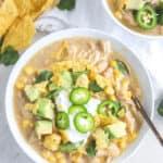 bowl of healthy white chicken chili